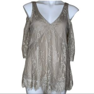 Maurices Cold Shoulder Top with Lace Overlay